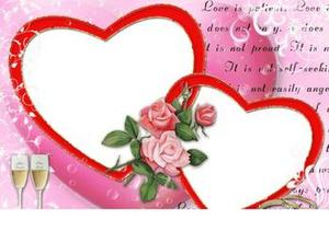 Two Hearts And Roses Love Photo Frame  Insert Photos  Wallpaper